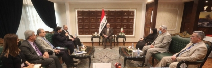 Deputy Speaker of the Iraqi Parliament, Dr. Bashir Khalil Al-Haddadi discusses with a delegation from the Alliance of iraqi minorities network the financial allocations for implementing service projects in minority areas through the participatory budgetin